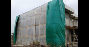 Работа в зимний период времени на фасаде дома, как монтируются тепляки, как устанавливаются и работают газовые пушки